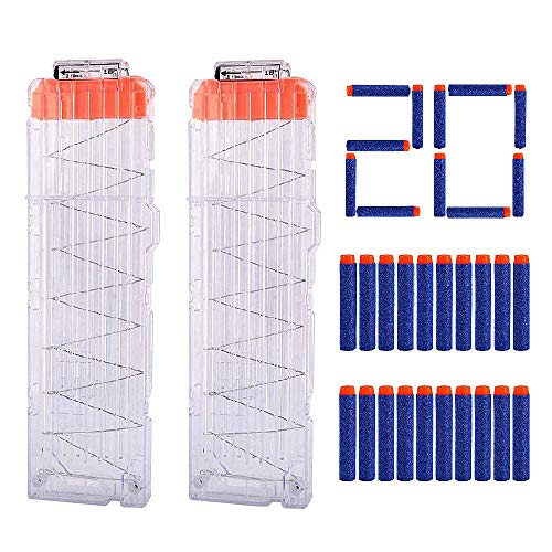 Hosim 2 Pack 18 Dart Quick Reload Clips Magazine With Extra 20pcs Blue Darts, Best Replacement Magazine Kits For Nerf Toy Gun
