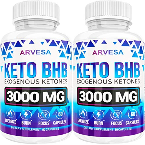 Keto Diet Pills 5x Dose (2 Pack | 3000mg Keto Bhb) Best Exogenous Ketones Bhb Supplement For Women And Men Boost Energy & Focus, Support Metabolism Made In Usa 120 Capsules