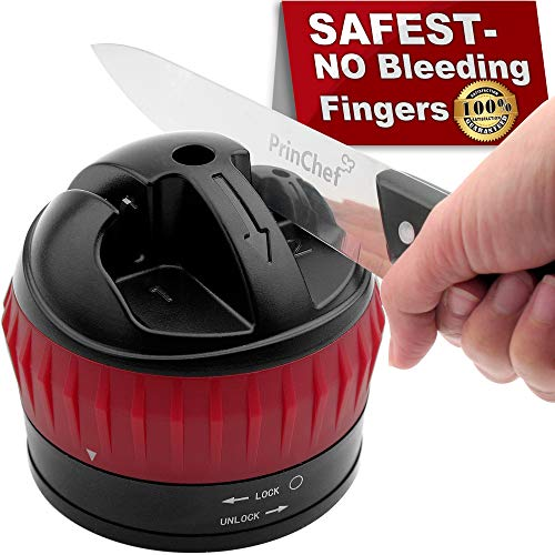 Knife Sharpener Safe Hands Free With Non Slip Suction Cup | 2 Stages Professional Kitchen Knife Sharpener For Straight Knife Repair/polish | Best Knife Sharpening Tool Quick And Razor Sharp, Black