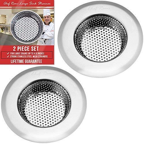"""Latest 2 Pc Kitchen Sink Strainer Large 4.5"""" Wide Rim Diameter Prevent Clogged Drains With The Best Stainless Steel Screen Mesh Basket Catcher/stopper For Your Kitchen, Shower & Utility Rooms"""