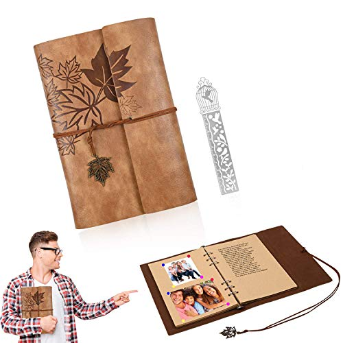 Leather Travel Journal Daily Notebook 6.3x9.3 Inches, Handmade Vintage Leather Journal For Men Women, Refillable Planner Blank Paper With Maple Leaf Pendants, Best Gift For Artists Sketchbook (khaki)