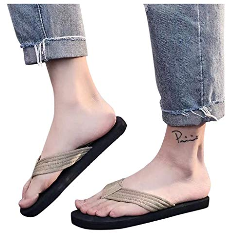 Mitcowboys Men's Thong Sandals Lightweight Beach Sandal Shower Slippers Best Travel Flip Flops For Men Khaki