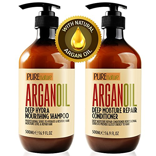 Moroccan Argan Oil Shampoo And Conditioner Sls Sulfate Free Organic Gift Set Best For Damaged, Dry, Curly Or Frizzy Hair Thickening For Fine/thin Hair, Safe For Color And Keratin Treated Hair