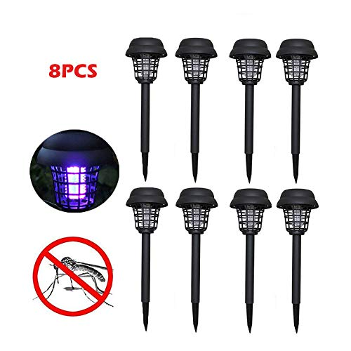 Naiflowers 8pc Solar Mosquito Zapper Outdoor Bug Killer Backyard Insect Killing Lamp Indoor Outdoor Patio Garden Lawn Cordless Solar Powered Pest Control Light Best Stinger Mosquitoes Moth Fly