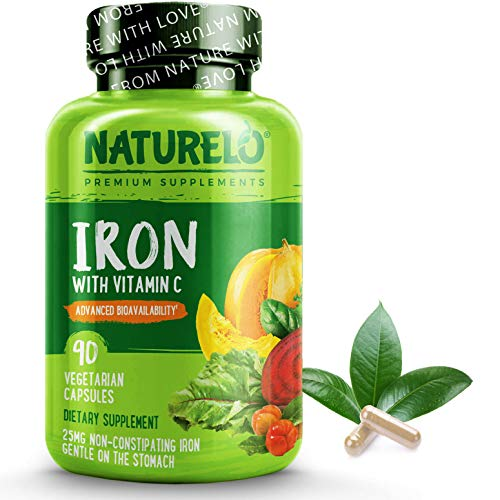 Naturelo Vegan Iron Supplement With Whole Food Vitamin C Best Natural Iron Pills For Women & Men W/iron Deficiency Including Pregnancy, Anemia And Vegan Diets 90 Mini Capsules
