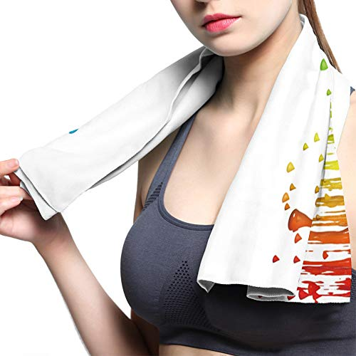 Olivefox Microfiber Sports Workout Sweat Towel Quick Dry Gym Towel Adult Travel Towel Super Absorbent Best For Travel Camp Backpacking Yoga Fitness Colorful Paint Drop 13.8x39 Inch