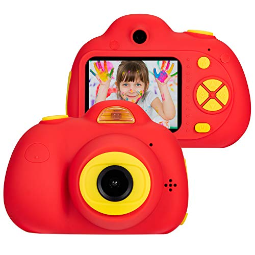 Omzer Digital Camera For Kids, 1080p Hd Video Camera Mini Child Camcorder With 2 Inch Lcd Screen Best 8mp Creative Gifts For 3 7 Year Old Boys Girls, Red(16gb Memory Card Included)