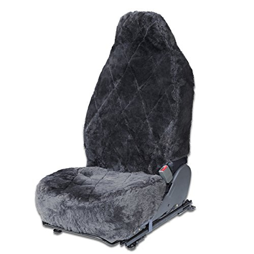 Oxgord Sheepskin Seat Covers (single Bucket) Wool Sheep Skin Shearling Car Accessories Best For Front Bucket Auto Seats Cover On Cars Truck Suv Van Real Lambs Lambskin Gray Fleece Plush Cushion