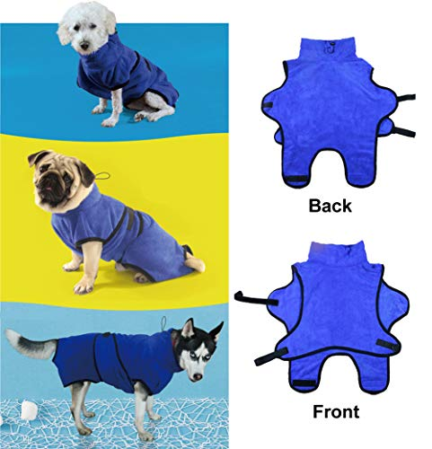 Rantow Small Medium Large Dogs Cats Bathrobe Pet Pajama Super Absorbent Dog Bath Towel Soft Pet Nightwear With Waist Belt&hood Best In Grooming Traveling Kennel Cage (xl, Blue)