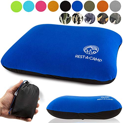 Rest A Camp Inflatable Camping Travel Pillow Ultralight Best Compact Backpacking Pillow Portable Air Pillow Backpack Camp Exped Travelling Hiking Sleeping Lightweight Inflating Blow Up Pillow