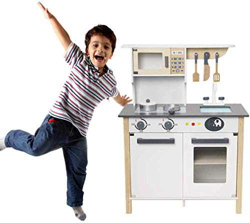 Robud Wooden Pretend Play Kitchen Set For Kids Toddlers, With Cookware Accessories Best Toys Gifts For Boys And Girls