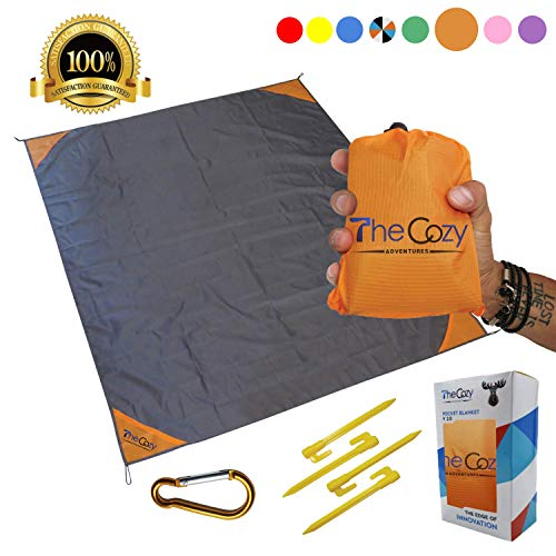 Sand Free Compact Beach Blanket Pocket Picnic Sheet For Outdoor Multiple Use | Best Mat For Travel & Festivals, Soft & Quick Drying With 4 Portable Tent Pegs And A Unique Gift Box