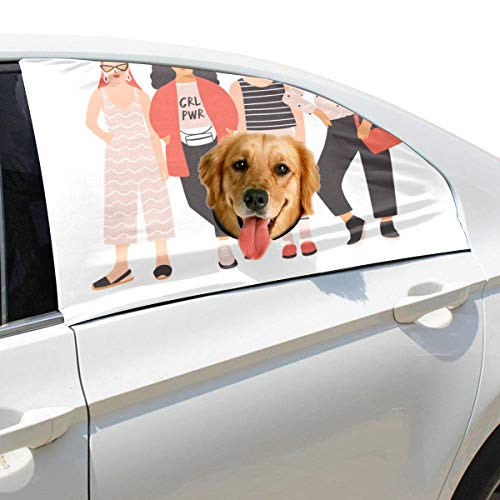 Tagours Young Ladies Girls Best Friend Forever Foldable Pet Dog Safety Car Printed Window Fence Curtain Barriers Protector For Baby Kid Adjustable Flexible Sun Shade Cover Universal Fit For Suv