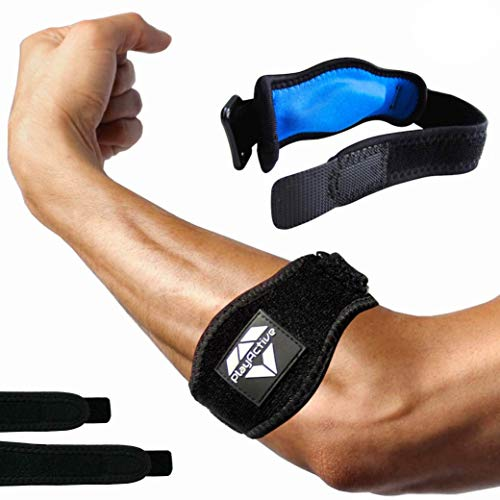 Tennis Elbow Brace (2+2 Pack) For Tendonitis Best Tennis & Golfer's Elbow Strap Band With Compression Pad Relieves Forearm Pain Includes Two Elbow Support Braces, Two Extra Straps & E Guide