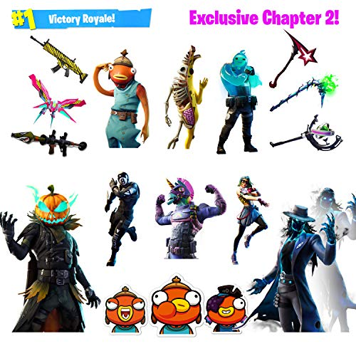 The Original Gaming Stickers, [124 Pcs Chapter 2 Version] Brand New Characters For Laptop Car Skateboard Luggage Waterproof Vinyl Decals Party Supplies, Best Gift For Kids,girls (exclusive)