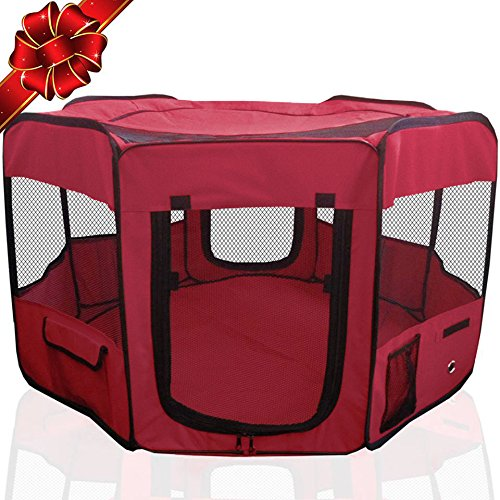 "Toysopoly Pet Playpen 45"" Indoor/outdoor Cage. Best Exercise Kennel For Your Dog, Cat, Rabbit, Puppy, Hamster Or Guinea Pig. Portable Pen For Easy Travel (maroon)"