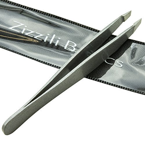Tweezers Surgical Grade Stainless Steel Slant Tip For Expert Eyebrow Shaping And Facial Hair Removal With Bonus Protective Pouch Best Tool For Men And Women (silver)