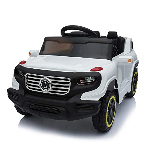 Value Box Electric Remote Control Truck, Kids Toddler Ride On Cars 6v Battery Motorized Vehicles Children's Best Toy Car Safe With 3 Speeds, Music, Seat Belts, Led Lights And Realistic Horns (white)