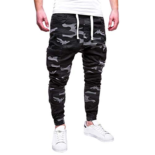 Wocachi Mens Sweatpants Sport Camouflage Lashing Casual Loose Drawstring Pants Jogger Pants Elastic Trousers Skinny Track Fitness 2020 Spring Under 15 Deals July 4th Boyfriend Best Gift