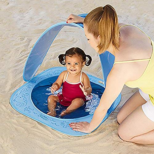 Yealsha Baby Beach Tent, Pop Up Portable Baby Pool Tent 50 Spf Uv Protection Sun Shelter Canopy With Carrying Bag Best Pool Toys Gifts For Infant(beach Pool Tent)