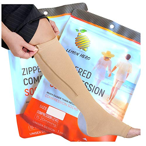 Zippered Medical Compression Socks With Open Toe Best Leg Support Stockings For Men And Women (2x Large Short, Beige)