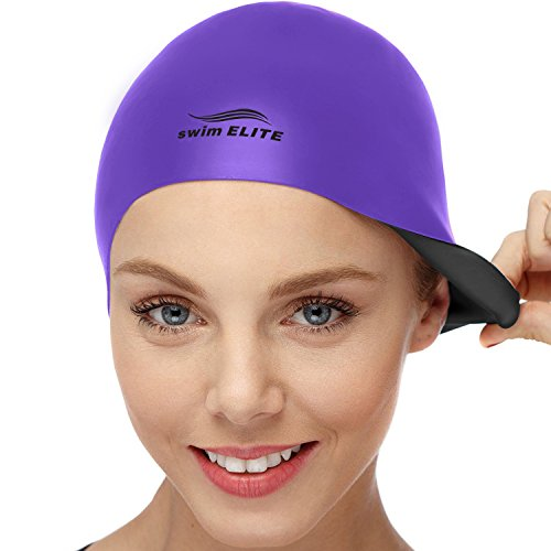 2 In 1 Premium Silicone Swim Cap Reversible Wear It On Both Sides Wrinkle Free Swimming Cap For Men And Women Best For Short And Medium Length Hair (purple/black)