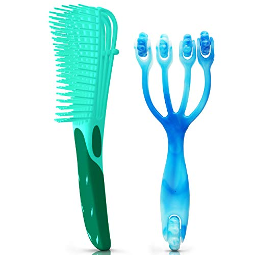 2 Piece Detangling Brush & Scalp Massager To Stimulate Thick Natural Hair Growth Detangler To Detangle For Wet Curly Tangle Teezer Hairbrush Best For 3a 4c Ez Kids & Adult Wetbrush Teaser Comb