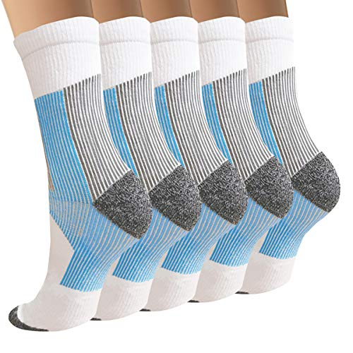 3/5/8 Pairs Copper Compression Ankle Socks Women & Men Sport Plantar Fasciitis Arch Support Best For Athletic &travel (small / Medium, A8 5 White Crew)