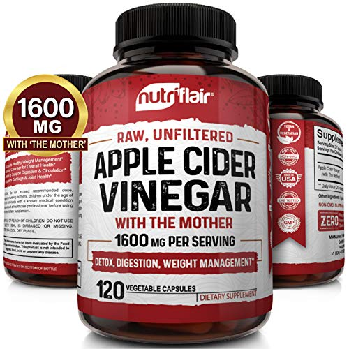 Apple Cider Vinegar Capsules With Mother 1600mg 120 Vegan Acv Pills Best Supplement For Healthy Weight Loss, Diet, Keto, Digestion, Detox, Immune Powerful Cleanser & Appetite Suppressant Non Gmo