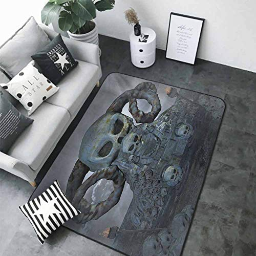 Bath Mat Set Kitchen Door Skull,spooky Scary Throne With Many Skulls Horns And Torches Graves Death Ghosts Theme,bluegrey Silver 63 X 48 In Best Floor Mats