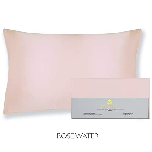 """Beauty Of Orient 25 Momme, 100% Pure Mulberry Silk Pillowcase For Hair And Skin, Natural Hypoallergenic Silk Pillow Case, Best For Beauty Body And Sleep (standard 20"""" X 26"""", Rose Water)"""