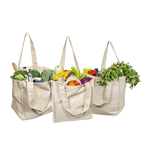 Best Canvas Grocery Shopping Bags Canvas Grocery Shopping Bags With Handles Cloth Grocery Tote Bags Reusable Shopping Grocery Bags Organic Cotton Washable & Eco Friendly Bags (3 Bags)