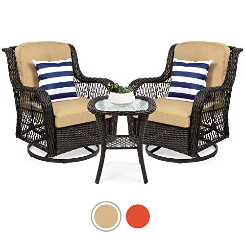 Best Choice Products 3 Piece Patio Wicker Bistro Furniture Set W/ 2 Cushioned Swivel Rocking Chairs, Side Table Beige