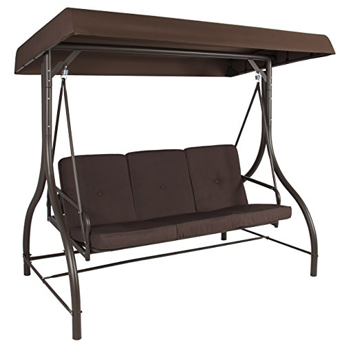 Best Choice Products 3 Seat Outdoor Steel Converting Patio Swing Canopy Hammock W/cushion, Brown
