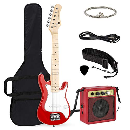 Best Choice Products 30in Kids Electric Guitar Beginner Starter Kit W/ 5w Amplifier, Strap, Case, Strings, Picks Red