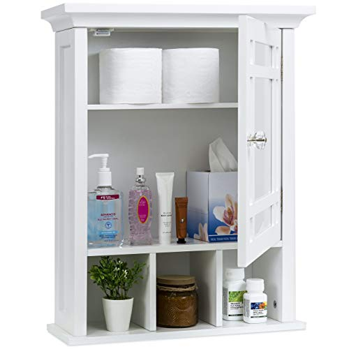 Best Choice Products Home Bathroom Vanity Mirror Wall Organizational Storage Cabinet White