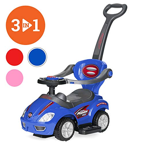Best Choice Products Kids 3 In 1 Push And Pedal Car Toddler Ride On W/ Handle, Horn, Music Blue