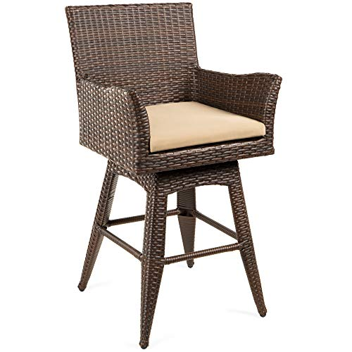 Best Choice Products Outdoor Patio Furniture All Weather Brown Pe Wicker Counter Height Swivel Bar Stool W/cushion