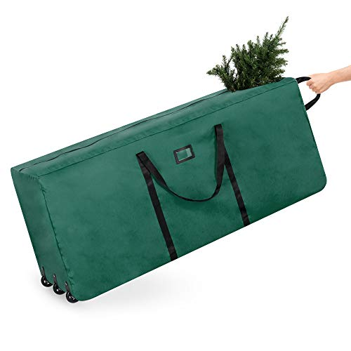 Best Choice Products Rolling Duffle Holiday Decoration Storage Bag For 9ft Christmas Tree W/wheels, Handle Green
