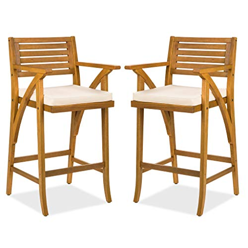 Best Choice Products Set Of 2 Outdoor Acacia Wood Bar Stools Bar Chairs For Patio, Pool, Garden W/weather Resistant Cushions Teak Finish