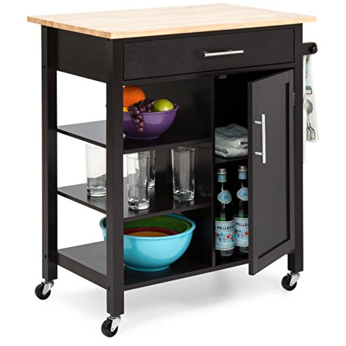 Best Choice Products Utility Kitchen Island Cart W/wood Top, Drawer, Shelves & Cabinet For Storage Espresso