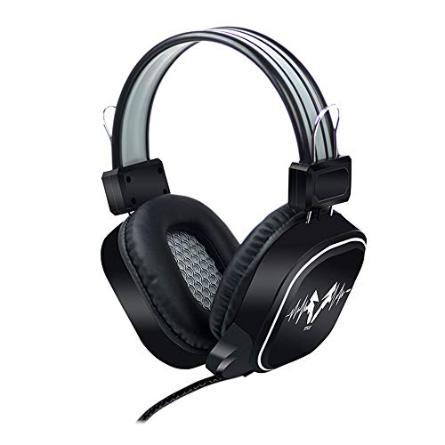 Best Choice Usb Wired Gaming Headphone Led Rgb Lighting Over Ear Gamer Headset With Microphone For Pc Laptop Game Music Device Ps4 Not Glowing Black Gray