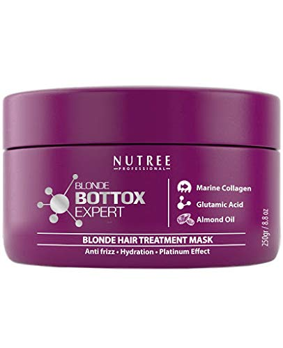 Blonde Botox Expert Purple Hair Treatment 8.8 Fl.oz Best For Blonde Hair Anti Brass, Eliminate Yellows, Toning Effect Promotes The Smoothing Of Hair Adding Softness And Amazing Gloss