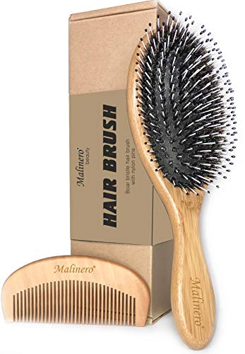 Boar Bristle Hair Brush For Men And Women Best Eco Bamboo Brush Set Natural Wooden Comb Hairbrush With Detangling Nylon Pins Mixed Boar Bristle Brush, Oval Hair Brush For Men, Women And Kids