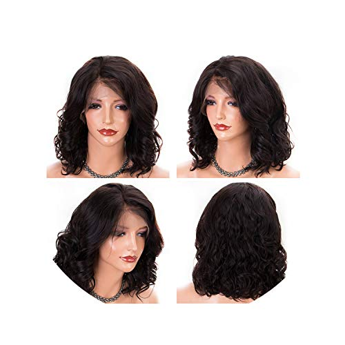 Body Wave Short Bob Wigs Brazilian Remy Lace Front Human Hair Wigs 3 Inch Pre Plucked Black Hair Bleached Knots The Best Of Us,12inches,130%,natural Color
