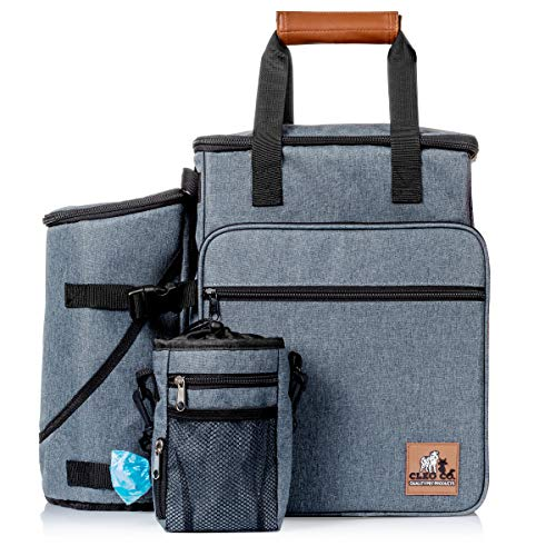 Cleo Co. Dog Travel Bag Backpack Travel Kit For Pet Gear Includes Collapsible Food And Water Bowls, Flying Disk And Treat Pouch Best For Organizing Dog Supplies For Easy Travel