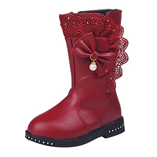 Ddkk Kids High Boots, Girls Winter Warm Bowknot Lace Snow High Boots Shoes Children Infant Best Gift