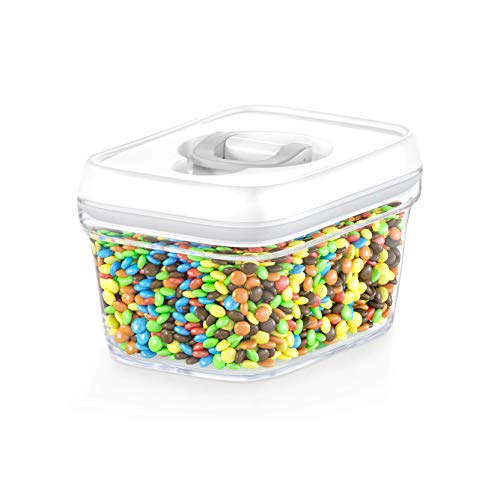 DwËllza Kitchen Airtight Food Storage Container Best Seal Pantry Container 0.34 Qt For Spices, Candy, Tea, Baking Soda And More, Clear Plastic Bpa Free, Keeps Food