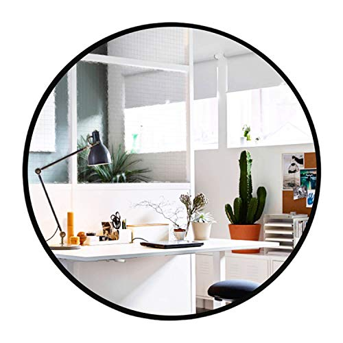 Elevens Wall Mirror Popular 28 Inch Round Wall Mounted Decorative Mirror Metal Frame, Best For Vanity Washrooms Bathroom And Living Rooms Black