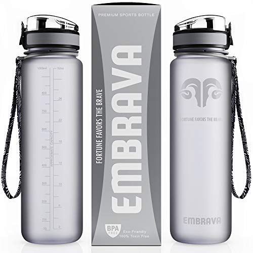 Embrava Best Sports Water Bottle 32oz Large Fast Flow, Flip Top Leak Proof Lid W/one Click Open Non Toxic Bpa Free & Eco Friendly Tritan Co Polyester Plastic
